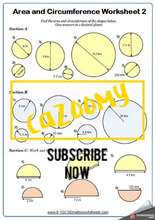 Circumference Worksheet 2