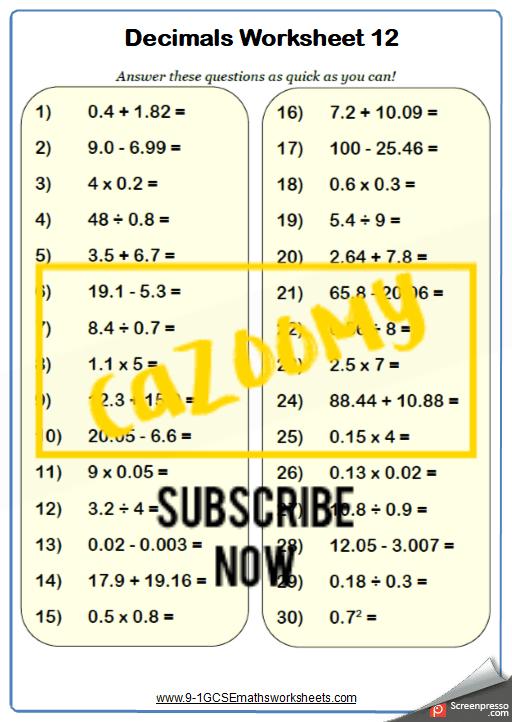 Decimals Worksheet 12
