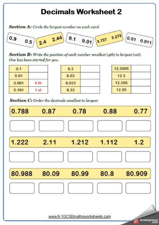 Ordering Decimals Worksheet 1