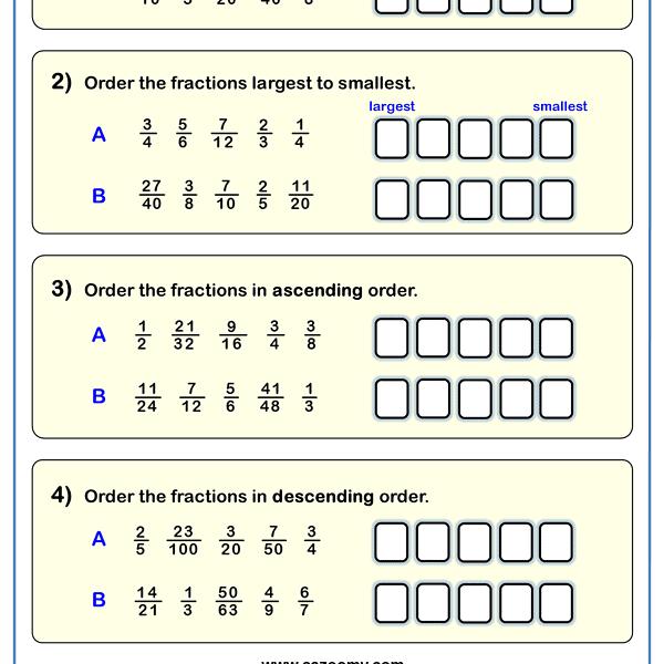 Ordering Fractions Worksheet 1