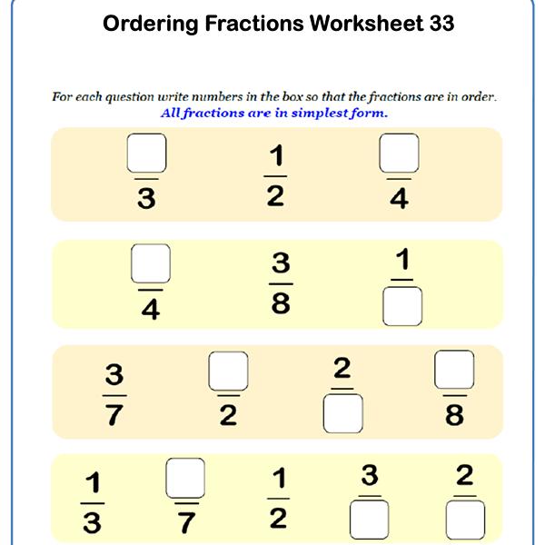 Ordering Fractions Worksheet 3