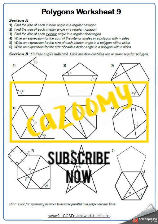Polygons Worksheet 9