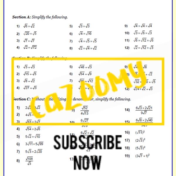 Surds Worksheet 2