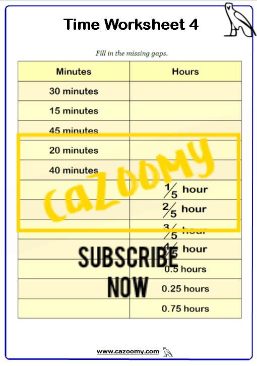 Time Worksheet 4