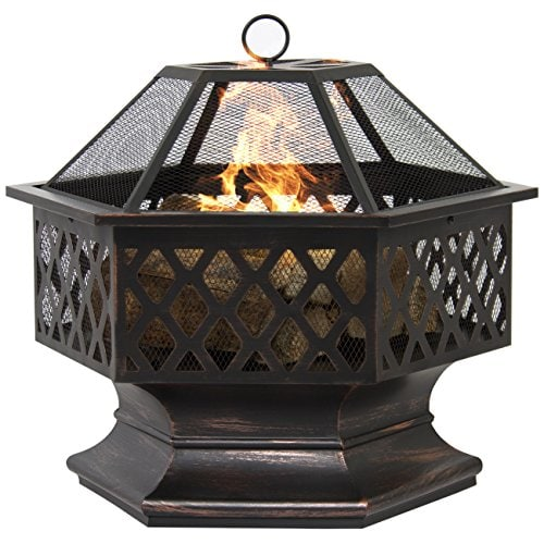 Best fire pit reviews - BCP Hex Shaped Outdoor Fireplace (fire pit SKY2414)