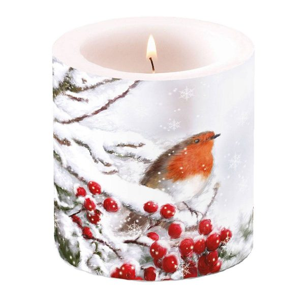 Ambiente kaars Robin In Snow klein