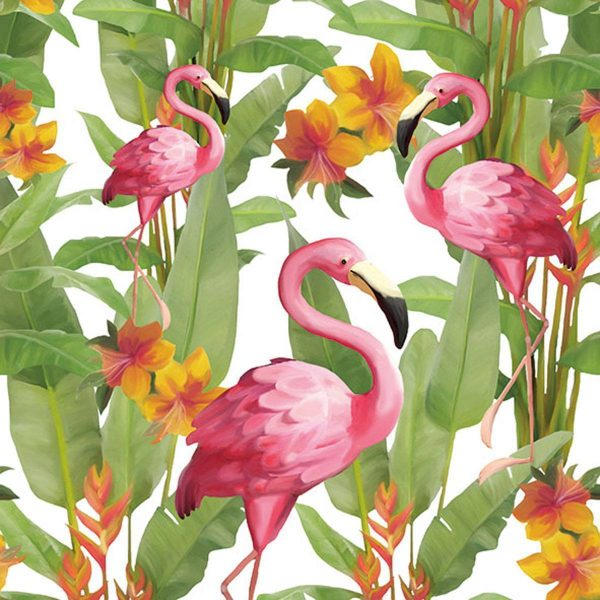 ambiente servetten flamingos white fsc mix
