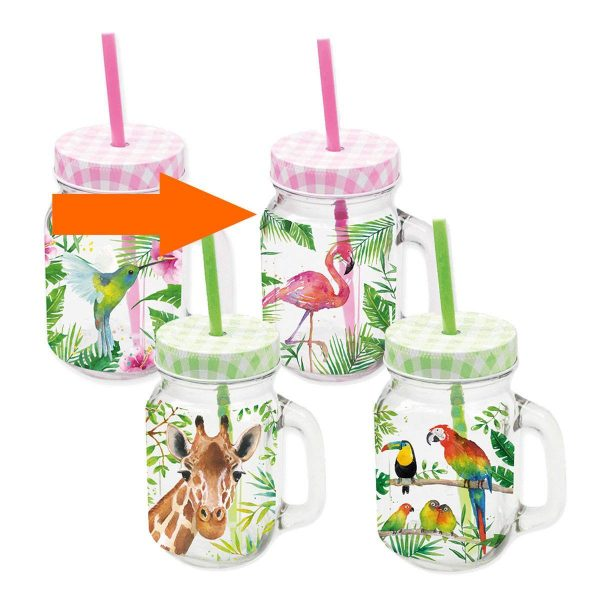 PPD drinkglas Tropical Flamingo