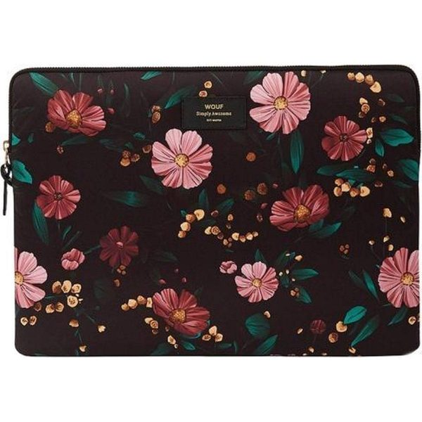 Wouf Black Flowers Laptophoes 15 inch