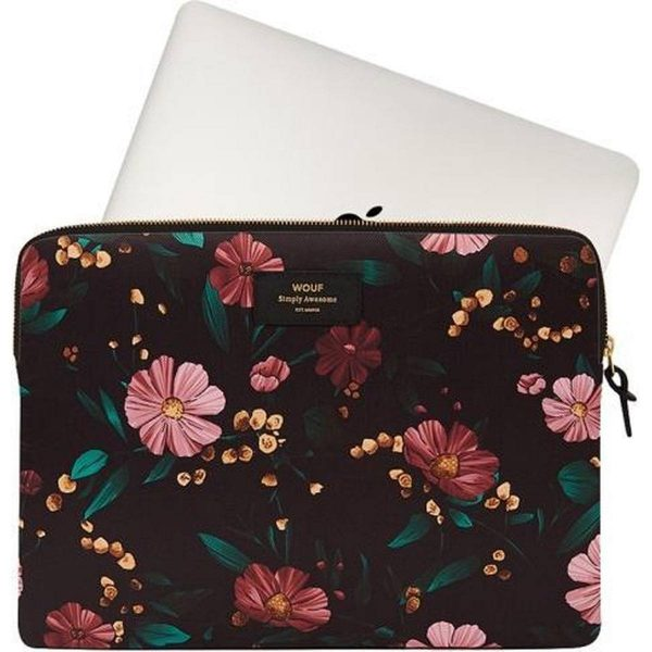 Black Flowers Laptophoes met apple
