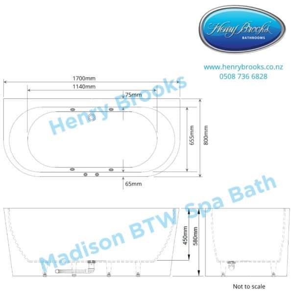 Madison Spa Bath dimensions Henry Brooks