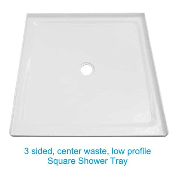 Square shower tray center waste low profile Henry Brooks Bathroomware view 2