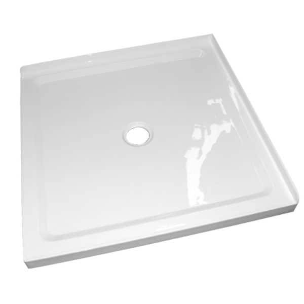 1m x1m 2 sided corner shower tray center waste 50mm step Henry Brooks