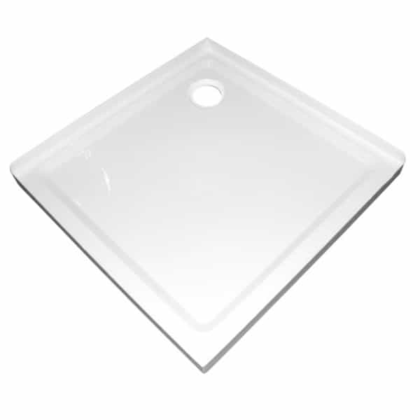 1m x1m 2 sided corner shower tray rear waste 50mm step Henry Brooks