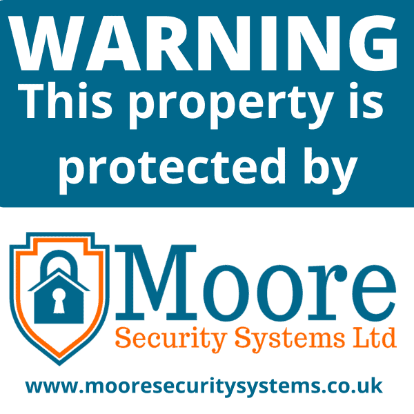 Window sticker protected by Moore Security Systems