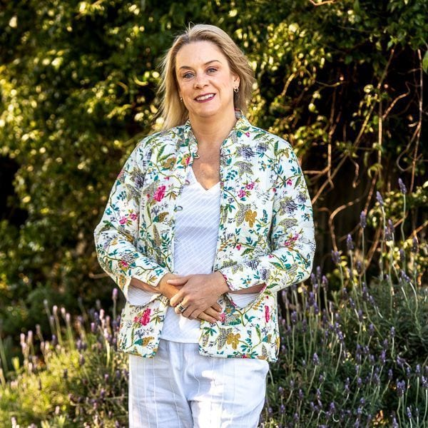 Jacket - white with floral pattern