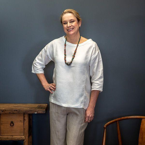Frances linen top - ivory