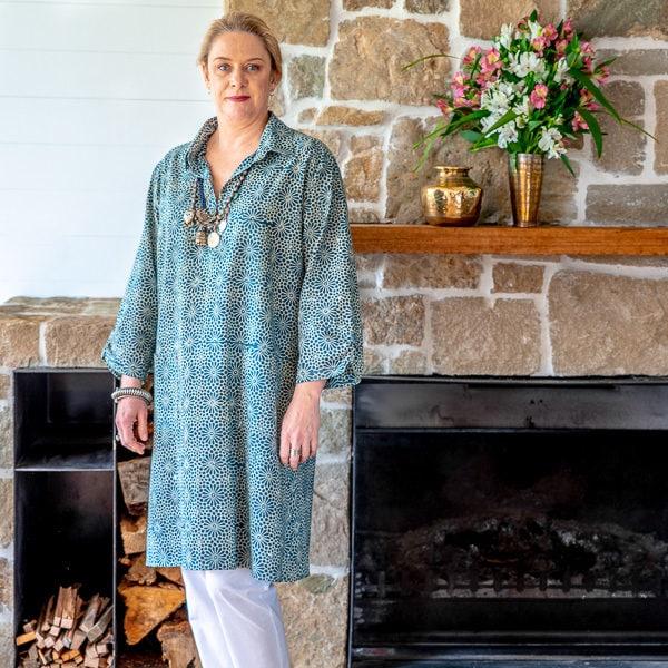 Jackie tunic - blue & ivory ajrakh