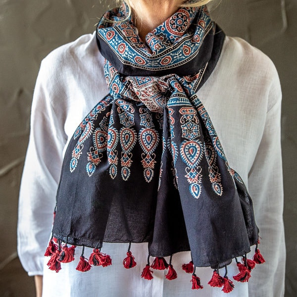 Ajrakh scarf - indigo and red cotton