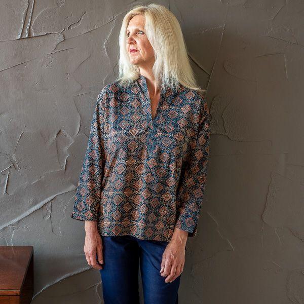 Molly shirt - indigo ajrakh short