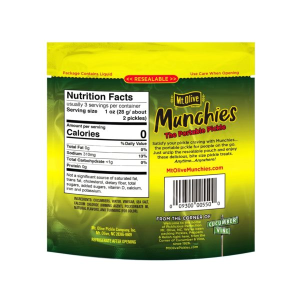Back of Mt. Olive Munchies Kosher Petite Dill Pouch