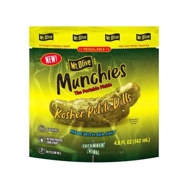 Front of Mt. Olive Munchies Kosher Petite Dill Pouch