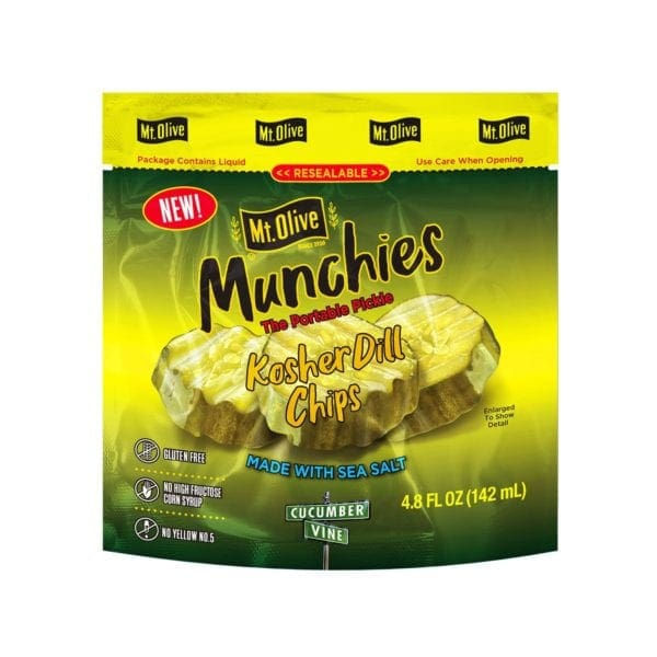 Front of Mt. Olive Munchies Kosher Dill Chips Pouch