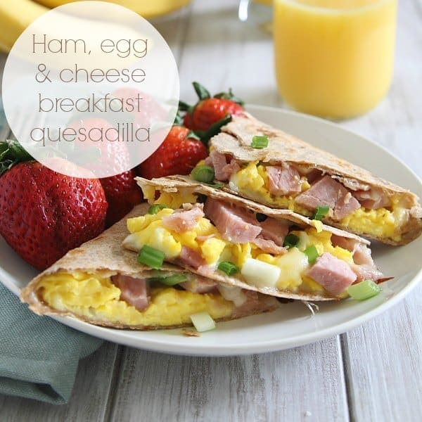Ham, egg and cheese breakfast quesadilla using leftover ham meat.