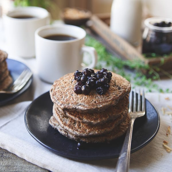 Start your day with a stack of these Toasted Coconut Cinnamon Raisin Oat Bran Pancakes