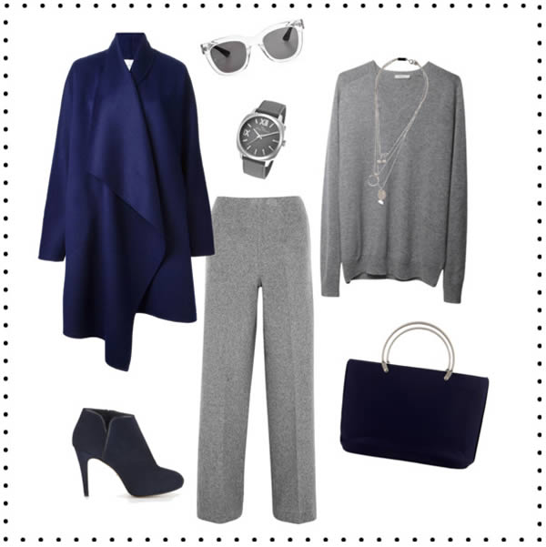 Gray combined with dark blue | 40plusstyle.com