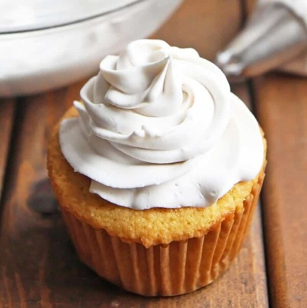 Coconut Cream Frosting on Cupcake