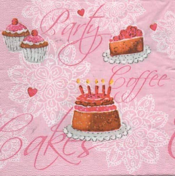 Serviette papier cupcake sucré et café