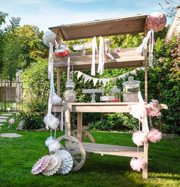 Pic-Event Location charette candy bar bois naturel