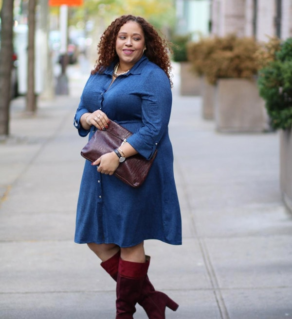 #40plusstyle inspiration: red boots with a dress   40plusstyle.com