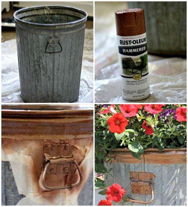 How to make a garbage can flower planter - www.thelilypadcottage.com