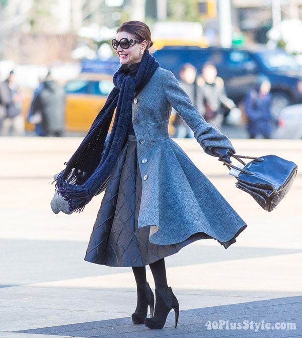 Shades of gray and a gray coat | 40plusstyle.com