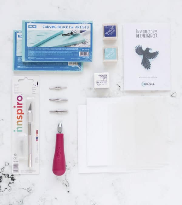 materiales-kit-carvado-de-sellos-básico-materiales-carvado-sellos-ana-sola