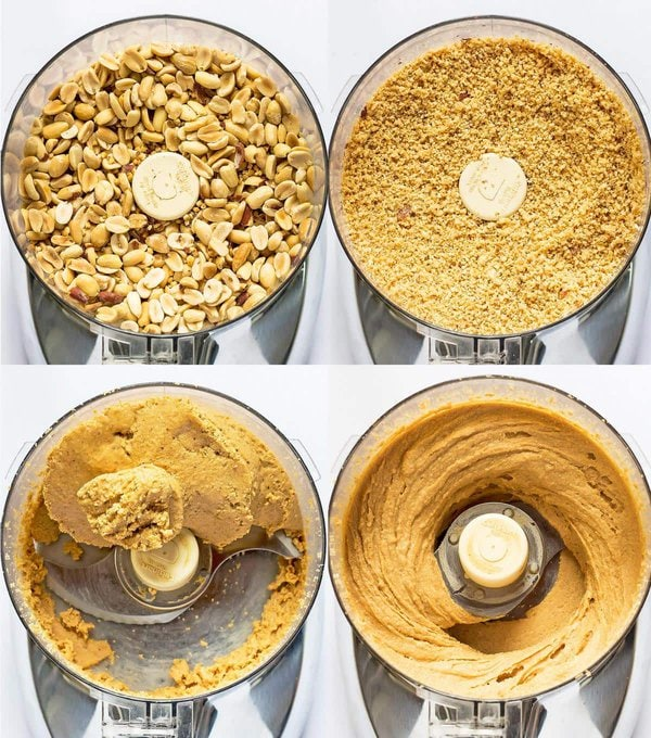 Stages of making peanut butter