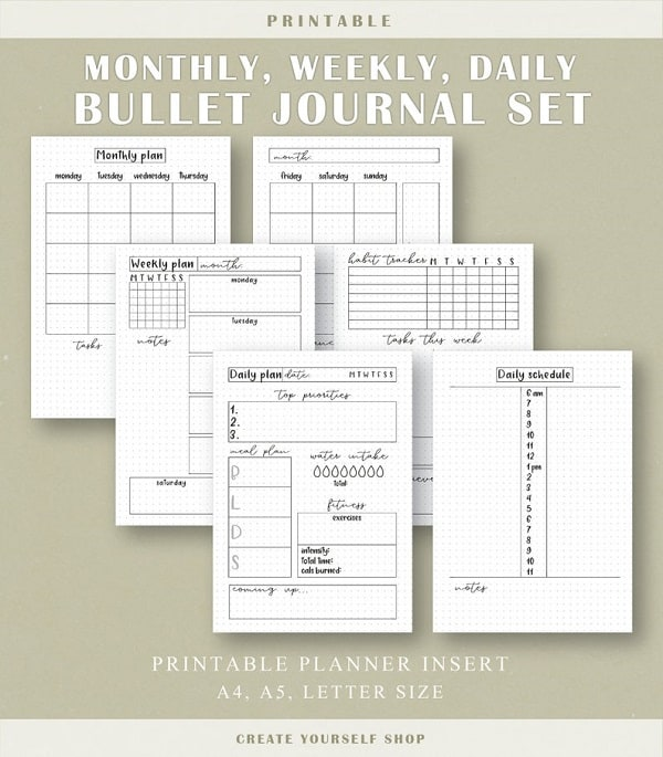 printable bullet journal kit