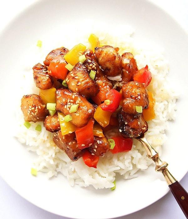 Honey Orange Chicken Over Rice