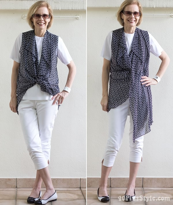losely draped asymmetrical ways to wear the vest | 40plusstyle.com
