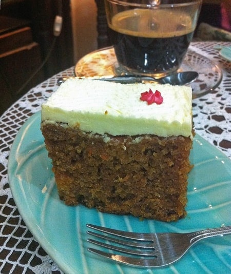 Carrot Cake on Blue Plate