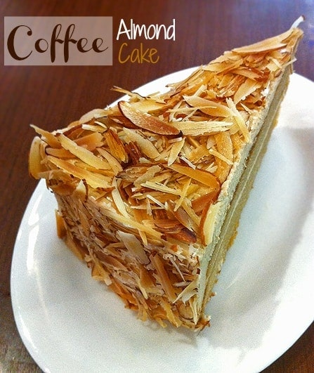 Slice of Coffee Almond Cake