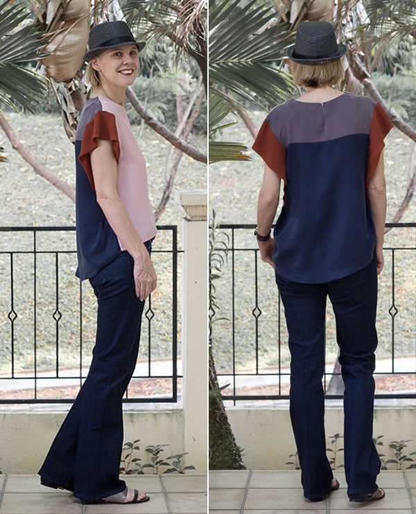 Corset jeans with a special top and hat | 40plusstyle.com