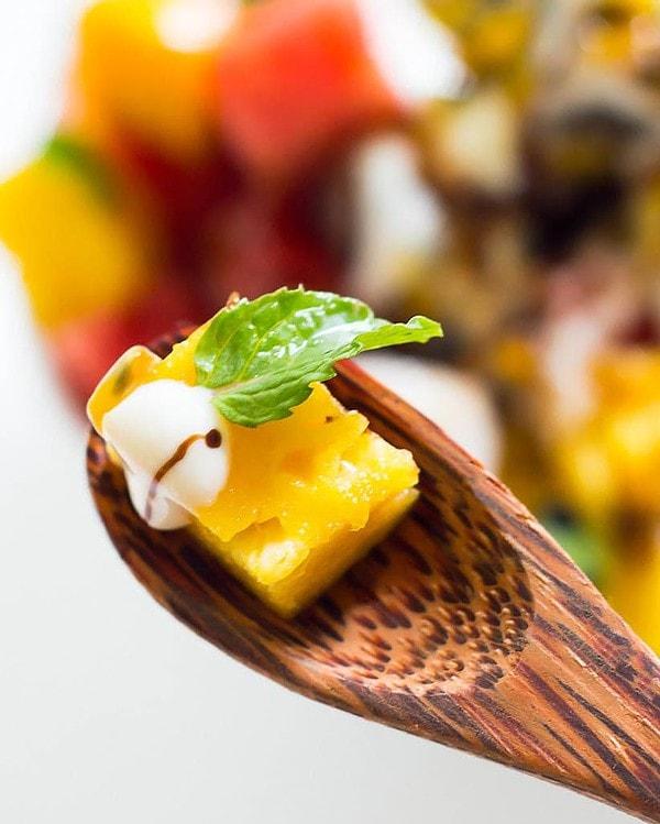 Fresh Fruit Salad on Spoon