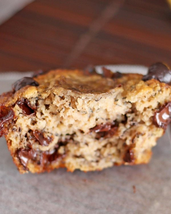 Inside chocolate chip banana bread muffin