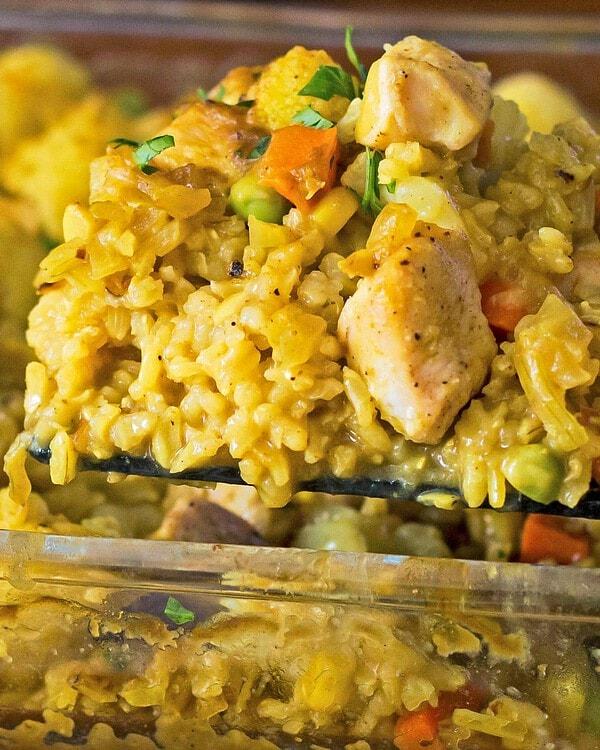 Curried Chicken Rice Casserole being served