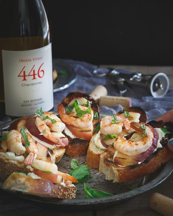 Lemon Burrata Crostini with Grilled Shrimp and Peaches