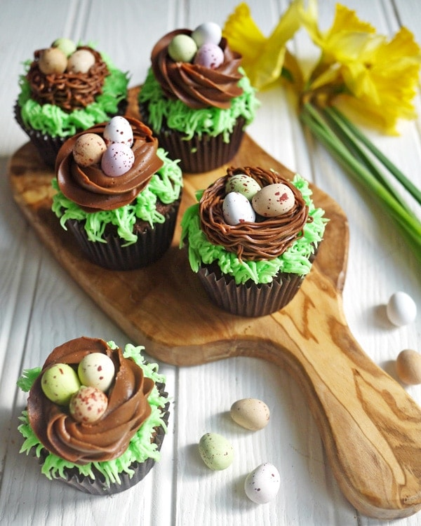 Easter Chocolate Nest Mini Eggs Cupcakes from Taming
