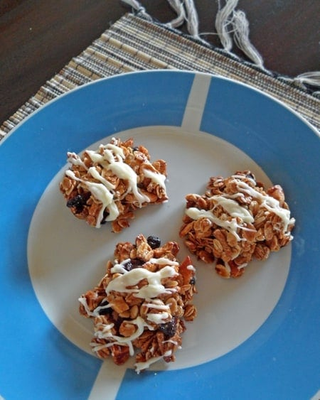 Granola Clusters on Blue Plate